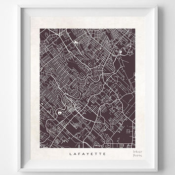 Lafayette, Louisiana, Street Map, Nursery, Poster, Wall Decor, Town, Illustration, Pretty, Room, Art, Cute, World, State, Print  [NO 501]