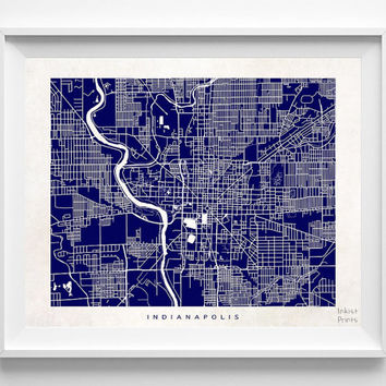 Indianapolis, Indiana, Town, Illustration, Pretty, Room, Street Map, Nursery, Poster, Wall Decor, Art, Cute, World, State, Print  [NO 498]