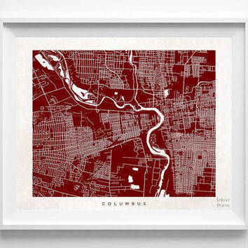 Columbus, Ohio, Street Map, World, State, Town, Print, Nursery, Art, Cute, Pretty, Living Room, Poster, Wall Decor, Illustration [NO 489]