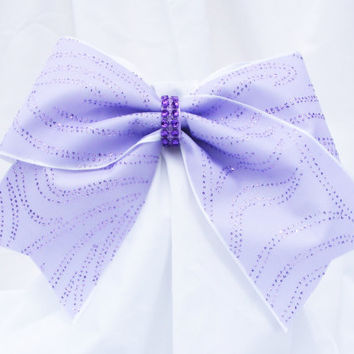 Cheer bow- Purple, gold or burgundy or black glitter bow with rhinestone center.-cheerleader bow - dance bow -Cheerleading bow