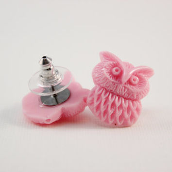 Pink owl studs - baby pink owls on titanium posts - nickel free for sensitive ears