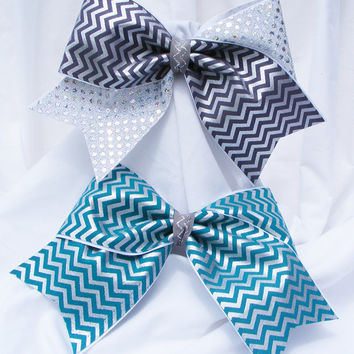 Cheer bow -  Teal or sliver chevron with sliver sequins. cheerleader bow - dance bow -cheerleading bow