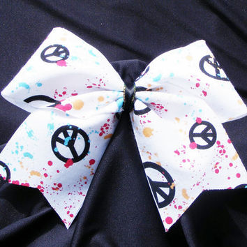 Cheer bow -  Colored spatters and peace signs. cheerleader bow - dance bow -cheerleading bow