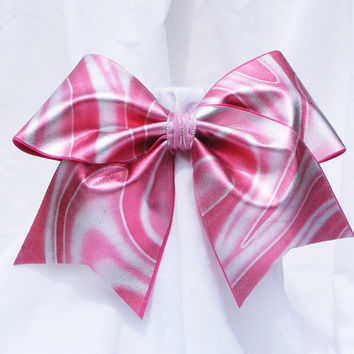 Cheer bow- Neon pink and sliver swirls holographic fabric. cheerleader bow - dance bow -cheerleading bow