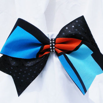 Cheer bow - Multi colored black, blue and red with black sequins and a rhinestone center. cheerleader bow - dance bow -cheerleading bow