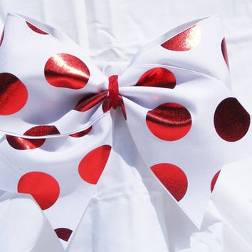 Cheer bow - White with red polka dots holographic fabric .  cheerleader bow - dance bow -cheerleading bow