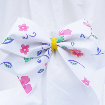 Cheer bow- White with pink spring time flowers.  cheerleader bow - dance bow -cheerleading bow
