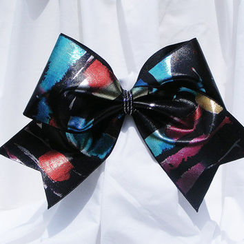 Cheer bow - Multi colored metallic looking holographic fabric. cheerleader bow - dance bow -cheerleading bow