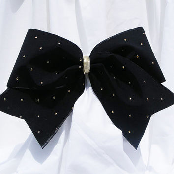 Cheer bow - Black with gold polka dot. cheerleader bow - dance bow -cheerleading bow