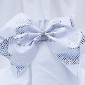 Cheer bow - White and sliver chevron pattern holograhic fabric. cheerleader bow - dance bow -cheerleading bow