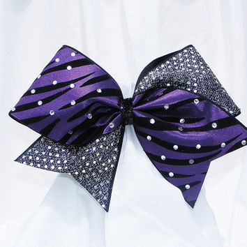 Cheer bow - Purple zebra print with sequins and handset rhinestones.cheerleader bow - dance bow -cheerleading bow