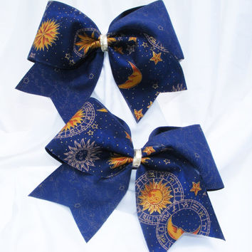 Cheer bow- Navy blue and gold Sun, Moon and Stars. cheerleader bow - dance bow -cheerleading bow