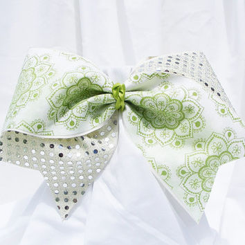 Cheer bow- Light green flowers with light green sequins. cheerleader bow - dance bow -cheerleading bow