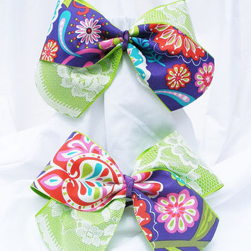 Cheer bow - Neon green with purple flower print and lace. cheerleader bow - dance bow -cheerleading bow