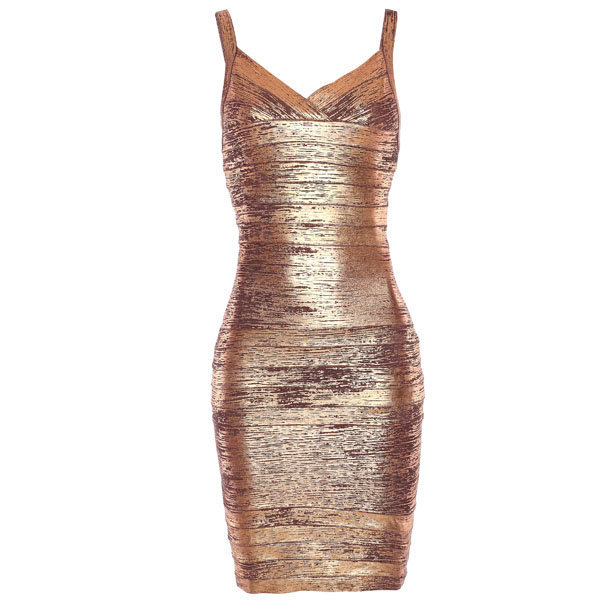 Bqueen Thin Strap Copper Foil Print Dress  H168Z4