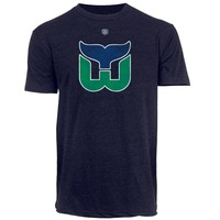 Old Time Hockey Hartford Whalers Briggs Vintage Logo T-Shirt - Navy Blue