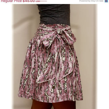 ON SALE Purple Abstract White and Grey Tribal Mini Skirt with Sash Belt - Ready to Ship