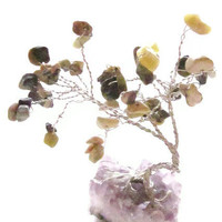 Gemstone Tree - Green Serpentine Stone Leaves on Amethyst Base - Desktop Paperweight