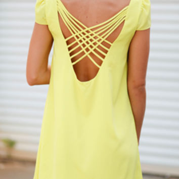 Into the Limelight Open Back Dress