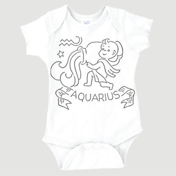 Aquarius Zodiac Onesuit | January 21-February 19 | Horoscope | Newborn Baby | Unique | 0006