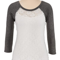 3/4 sleeve lace baseball tee
