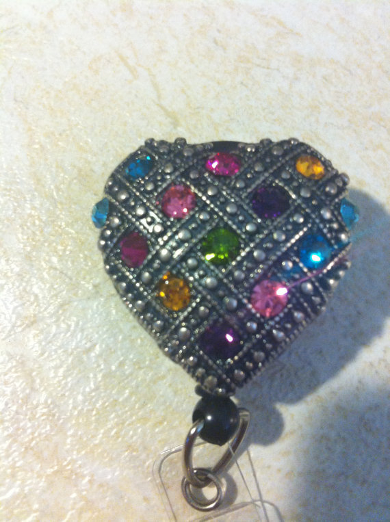 Ladies Bronze CRYSTAL Rainbow Multi Faceted heart Crystal art designer Badge reel retractable ID Badge Holder day