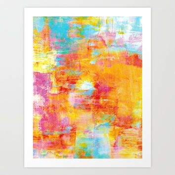 OFF THE GRID Colorful Pastel Neon Abstract Watercolor Acrylic Textural Art Painting Nature Rainbow  Art Print by EbiEmporium