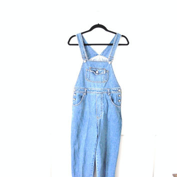 vintage overalls / early 90s BOM light wash denim GRUNGE overall jeans dungarees