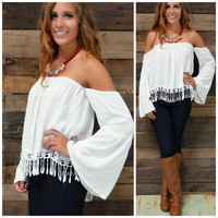 Eden Cove White Open Shoulder Top