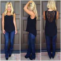 Brixton Lace Back Sleeveless Blouse - BLACK