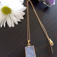Gorgeous Natural Lilac Druzy Stone Necklace. Electroformed Gold Dipped.