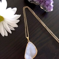 Gorgeous Natural Druzy Sparkling Stone. Necklace. Electroformed Gold Dipped.