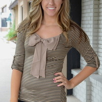 Stripe Black Taupe Bow Top