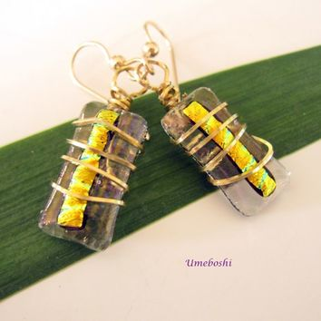 Captured Baubles Brass Wire Wrapped Handmade Dichroic Glass Earrings