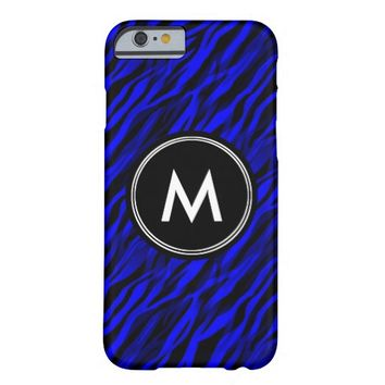 Blue Zebra Stripe Monogram iPhone 6 Case