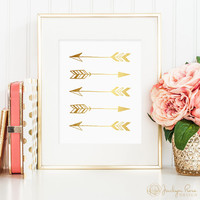 Gold foil arrows, printable wall art decor, minimalist art, faux gold foil, art for office, bedroom decor, instant digital download (JPG)