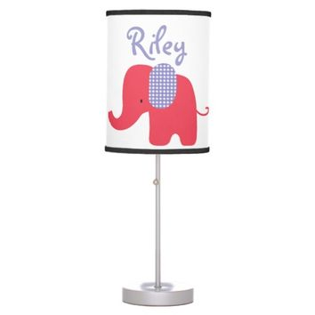 Red and Purple Baby Elephant Table Lamp