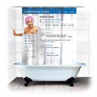 Social Shower Curtain - Spinning Hat