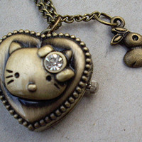 kitty cat  Pocket watch Locket Necklace, with a rabbit