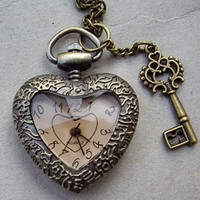 Retro style transparent Heart Shape Pocket watch Necklace, with a key