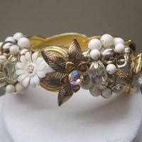 CLEARANCE-JARDIN BLANC-Collage Cuff Bracelet Designed With Upcycled Vintage Jewelry, Was 50.00, Now 40.00