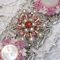 CLEARANCE-Say It With Flowers, Chunky, Wide Link Bracelet Designed With Vintage Repurposed Jewelry. Initially 55.00, Now 35.00