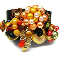 CLEARANCE-APRICOT DAZZLE, Cuff Designed With Vintage Repurposed Jewelry, Was 65.00, Now 50.00.