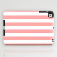 Coral Pink Stripe Horizontal iPad Case by BeautifulHomes | Society6
