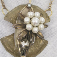 PEARLS OF WISDOM-Necklace Designed With Vintage Repurposed Jewelry, Art Deco Style