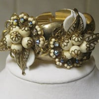 CLEARANCE-CHAMPAGNE TASTE- Bracelet Designed With Vintage Upcycled Jewelry- Was 70.00, Now 45.00.