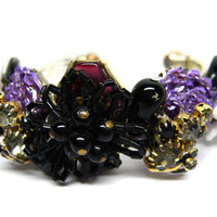 CLEARANCE-VIOLET EYES-Bracelet Designed With Vintage Repurposed Jewelry, Was 35.00, Now 25.00