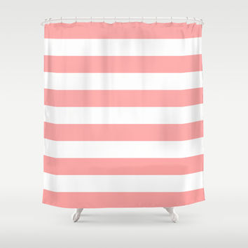 Coral Pink Stripe Horizontal Shower Curtain by BeautifulHomes | Society6