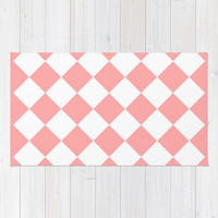 Coral Pink Diamonds Area & Throw Rug by BeautifulHomes | Society6