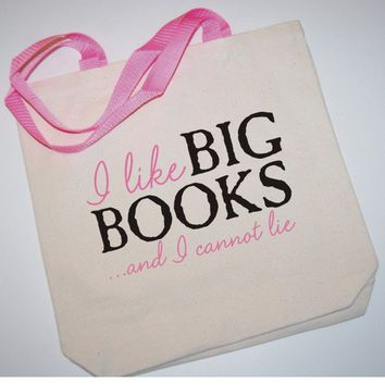 i like big book script canvas bag by BookFiend on Etsy